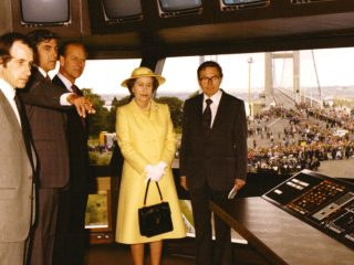 Her Majesty, Queen Elizabeth II, tours the Control Room on the day in 1981 when she officially opened the Humber Bridge.